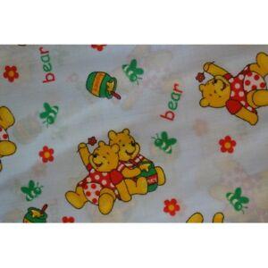 1 mtr Baby Blue Winnie The Pooh Craft Polycotton Children Nursery Mask Fabric