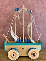 Vintage Music box WOOD SAILBOAT rolls and plays tune,  Made in Germany