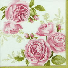 4x Delicate Roses Paper Napkins for Decoupage Decopatch Craft