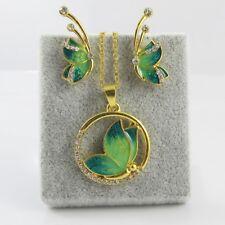 2pce Enamel & Rhinestone Butterfly Necklace & Earring Set