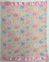Blankets and Beyond Pink soft Heart Baby Blanket Pink Satin border edge trim