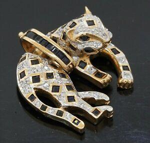 Heavy 14K 2-tone gold 2.25CTW diamond & Blue sapphire panther pendant