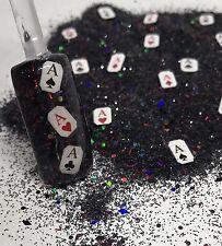 glitter mix nail art acrylic gel LUCKY HAND🎲 poker Las Vegas gamble dice cards