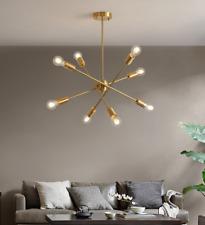 8 Lights Modern Sputnik Chandelier Brass Hanging Pendant Light Ceiling Fixture