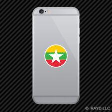 Round Burmese Flag Cell Phone Sticker Mobile Burma MMR MM