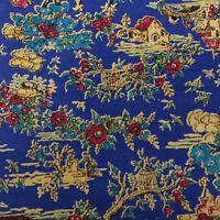 "Vtg 50s 60s Blue Flocked Novelty Upholstery Fabric Birdcage Floral 3.5YDS x 44"""