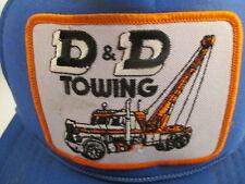 Vtg D & D Tow Truck Blue Mesh Patch Hipster Trucker Cap Hat Snapback