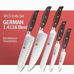 Knife Set Chef Santoku Utility Bread Paring Stainless Steel Wood Handle Slicing