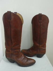 Men's Vtg JUSTIN 10.5 D Tall Brown Stitched Leather Western Work Cowboy Boots