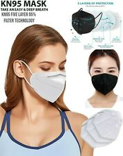 50/100 PCS 5 Layers Face Mask Mouth&Nose Protector Respirator Masks White /Black