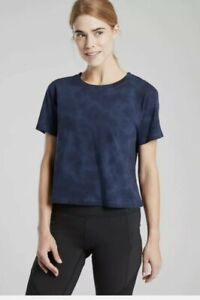 Athleta Organic Daily Crop Tie Dye Tee Size XS Navy NWT #530839