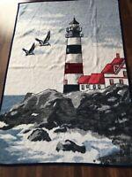 Biederlack Blanket Lighthouse Nautical Ocean USA 54 x 78 Inches Throw Cover