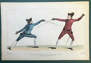Fencing 18th Century L'Ecole des Armes Colored Etching Engraving of Fencing Duel