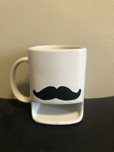 Mustache Coffee Mug Inaglaze W/ Cookie Donut Holder