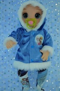 """Dolls Clothes For 17"""" Baby Alive Real As Can Be ROYAL BLUE VELVET JACKET~TIGHTS"""