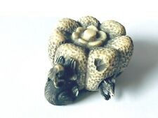 Rare Antique Signed Detailed Japanese Netsuke Movable Rat in Gourd w/ Rabbit