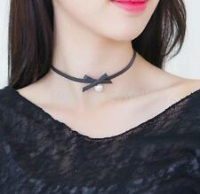 Women Punk Black PU Leahter Bowknot Pearl Collar Clavicle Necklace Lovely Choker