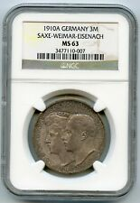 Germany,Saxe-Weimar-Eisenach,3 marks 1910A,Wedding Comemmorative NGC MS-63