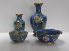 4 Antique Vintage Chinese Cloisonne Items - Bowls Vases Early-mid 20th C