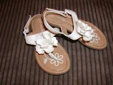 CHEROKEE TODDLER GIRL WHT FLWR SUMMER TOE SANDALS SZ 9 EUC!