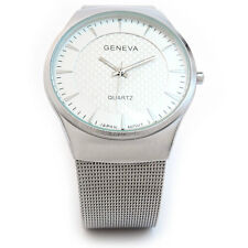 New Geneva Silver Mesh Style Bracelet Slim Design Case Mens Watch