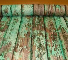 Wooden Board Teal Natural 100% Cotton Fabric. Price per 1/2 meter