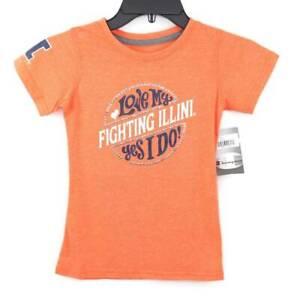 Fighting Illini Illinois Football NCAA Kids T-Shirt Orange Short Sleeve  S New