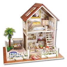 DIY Paris Cabin Doll House Cute LED Dollhouses Miniature Kit Xmas Gift for Kids