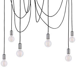 Multi Light Ceiling Pendant –6 Bulb Chrome Steel–Industrial Adjustable Hang Hook
