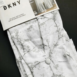 DKNY Promenade Pinch Pleat Window Curtain Panels Branches Cotton * GRAY 32x108""