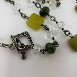 Retired Silpada Canadian Jade Sterling Silver and Crystal Necklace N1247