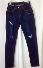 NWT Color 3 Collection Girls/Women SIZE M Dark Wash DESTROYED Ripped Torn Jeans