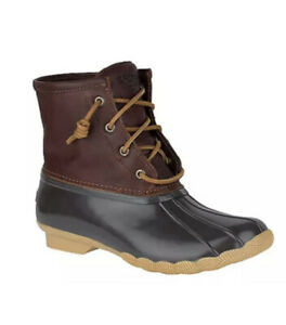 Sperry Saltwater STS91176 Duck Boots Women's Size 7.5 Wide W Brown NEW
