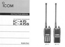 Icom ic-a15 a15s radio manual in English language manual vuelo funk dispositivo