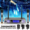 VHF Wireless Handheld Microphone System Set w/ 2 Cordless Mic Home Karaoke Stage