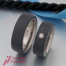 TITAN FACTORY Ringe - Trauringe/Eheringe-Titan/Carbon - 1 Brillant 0,03ct