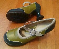 JOHN FLUEVOG MINIS GORGEOUS MARY JANE TEAL & GREEN PUMPS 10.5 BUCKLE SHOES HEELS