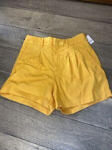 New Gap High Rise Pleated Khaki Shorts Size 8 Stretch Yellow New NWT