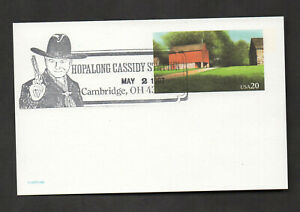 US #UX198, red barn postal card, with Hopalong Cassidy cancel.