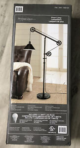 Pulley Lamp Floor Light Adjustable Bronze Finish Industrial Steel Base w Shade