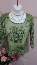 Gloria Vanderbilt Green Beaded Sequin Embolished Blouse Top Size PL WC256