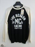 ROKKER Strick Pullover schwarz weiß 100 % Baumwolle Strickpulli Biker NEU! Gr. M