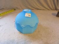 "VTG Glass Shade Globe Satin Blue Icicle 2 1/4"" Fitter Cased Glass Art Deco ?"