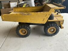 Vintage 1985 Remco Toy Metal Dump Truck Yellow Goodyear Tires