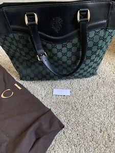 Gucci Handbag Hobo Tote 272398 204991 Green GG Canvas Black Leather NEW
