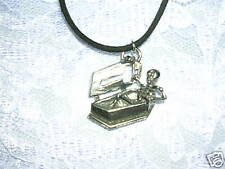 NEW SKELETON IN COFFIN w CROSS PEWTER PENDANT NECKLACE