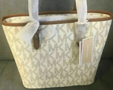 Michael Kors Jet Set Medium Snap Pocket Tote MK PVC Bag Vanilla Authentic NWT