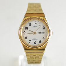 Vintage Mens Citizen Forma Gold DayDate Quartz Watch Kanji JDM 5500-F50093