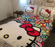 Hello Kitty Big Face Lovely QUEEN SIZE DOUBLE BED SHEET 4PC Cotton Bedding SET