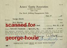 BILL SHIRLEY - GEORGE ABBOTT - DOCUMENT - SIGNED - 1947 - DISNEY - PULITZER